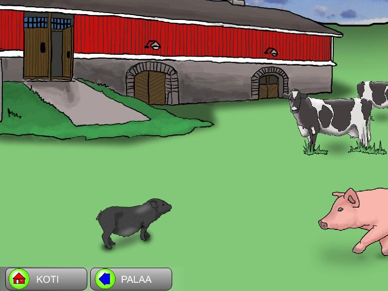 Maatilan eläimet,  eläintä koskettamalla avautuu video
